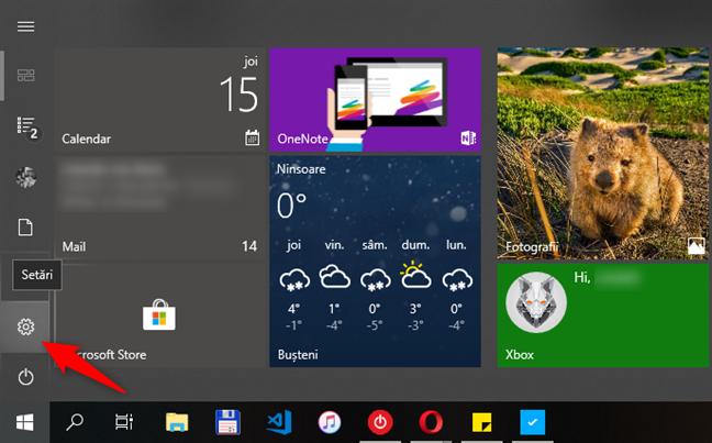 Butonul Setări din Meniul Start din Windows 10