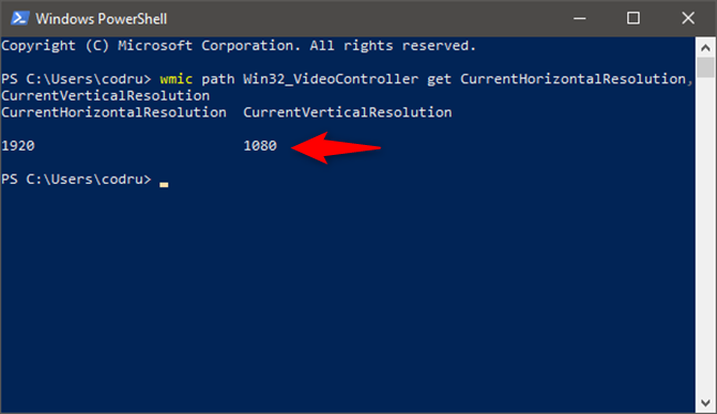 Rularea unei comenzi care îți returnează rezoluția ecranului, în PowerShell