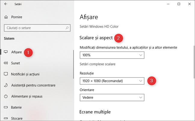 Pagina Afișare din aplicația Setări din Windows 10