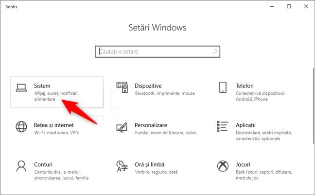 Categoria de setări Sistem din aplicația Setări din Windows 10