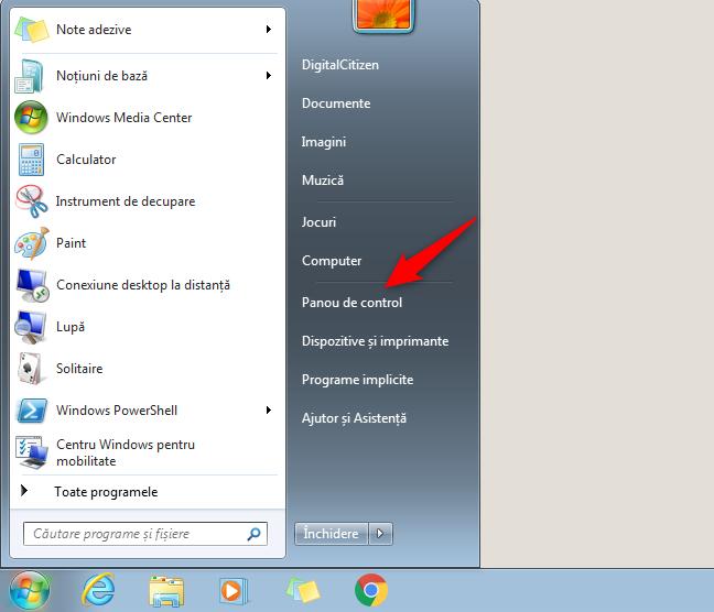 Butonul Panoului de control din Meniul Start din Windows 7