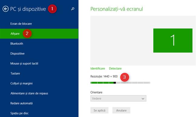 Secțiunea Personalizați-vă ecranul din Setările PC, din Windows 8.1