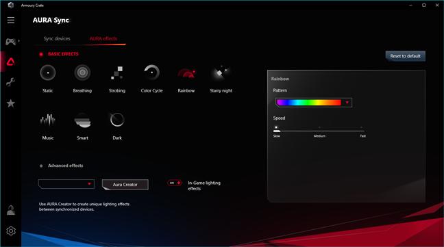 Efecte de lumină și setări din ASUS Aura RGB