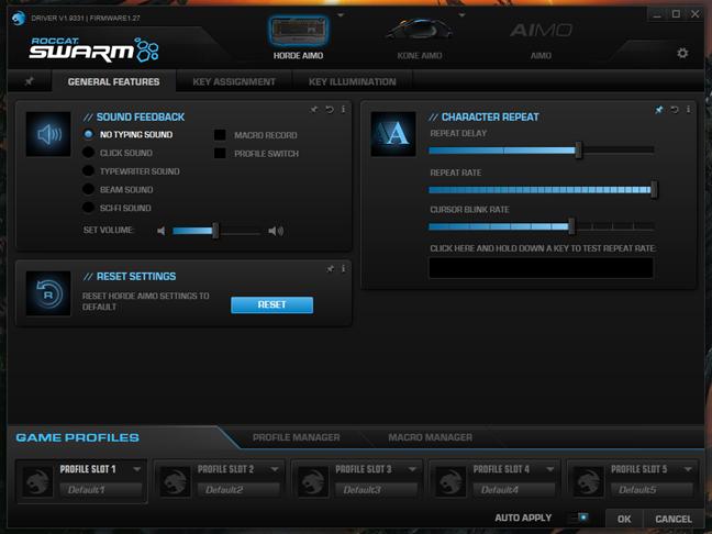 Aplicația ROCCAT Swarm