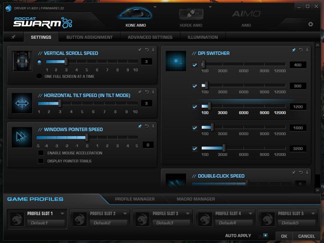 Setările din aplicația ROCCAT Swarm