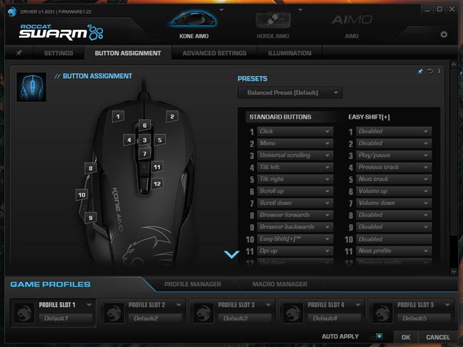 Pagina pentru butoanele mouse-ului din aplicația Swarm