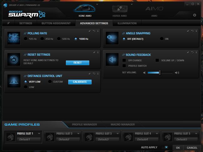 Setările avansate din aplicația Swarm