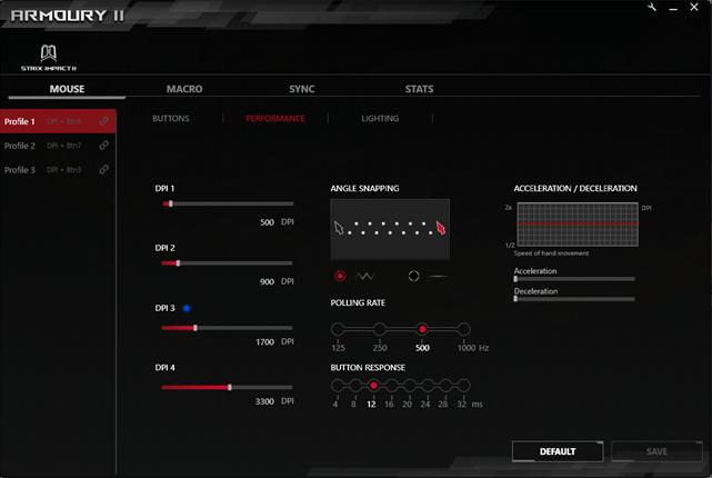 Opțiunile de performanță din aplicația Armoury II