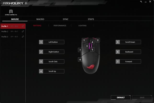 Setările pentru butoane din aplicația Armoury II
