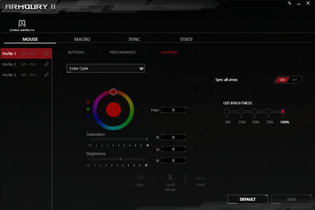 Setările de iluminare RGB disponibile în Armoury II