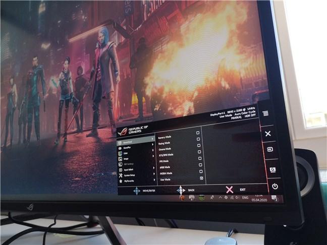 OSD pe monitorul de gaming ASUS ROG Swift PG43U