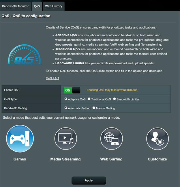 Configurarea Adaptive QoS pe un router ASUS