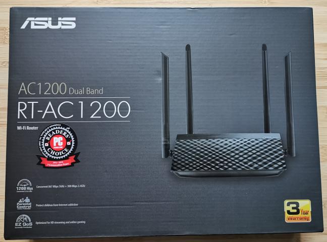 Cutia în care vine ASUS RT-AC1200 V2
