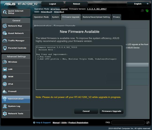 Actualizare de firmware pentru ASUS RT-AC1200 V2