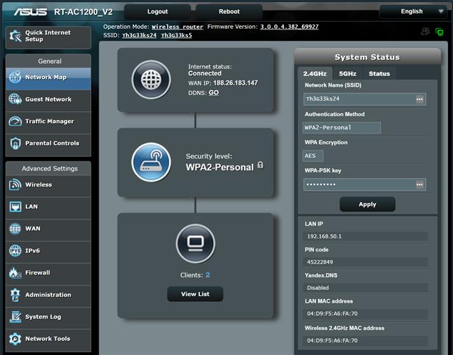 Firmware-ul de pe ASUS RT-AC1200 V2