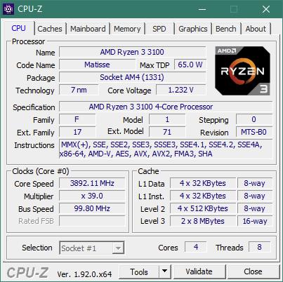 Detalii CPU-Z despre AMD Ryzen 3 3100