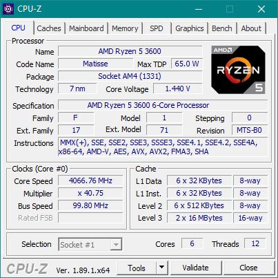 Detalii oferite de CPU-Z despre AMD Ryzen 5 3600