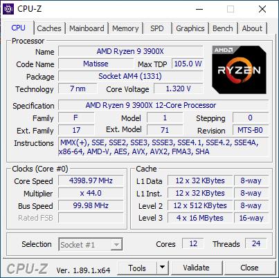 Detalii despre AMD Ryzen 9 3900X, afișate de CPU-Z