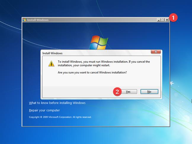Închide Instalează Windows 7 și repornește