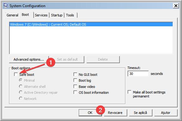 Setează pornirea normală în instrumentul System Configuration