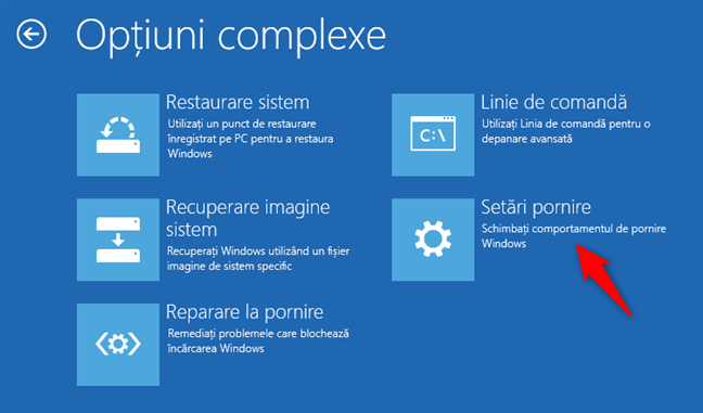 Deschiderea setărilor de pornire din Windows 8 sau 8.1