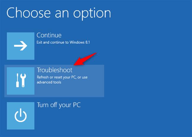 Depanarea în Windows 8 sau 8.1