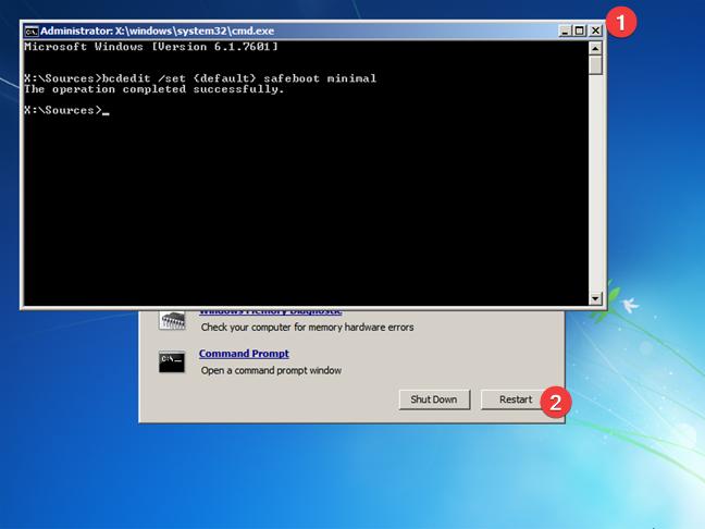 Închide Linia de comandă și repornește Windows 7