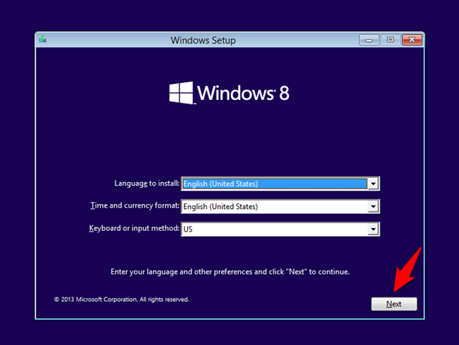 Instalarea Windows 8