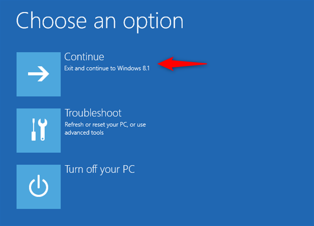 Continuarea la Windows 8.1