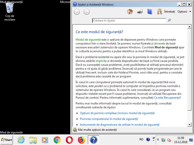 Windows 7 în Modul de siguranță