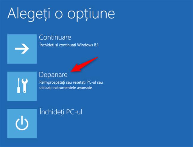 Depanarea Windows 8.1