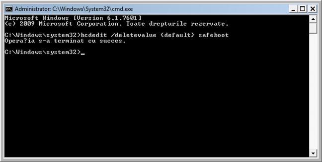 Activează pornirea standard Windows 7 din linia de comandă