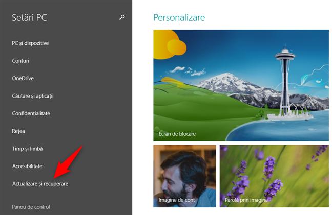 Ecranul Setări PC din Windows 8