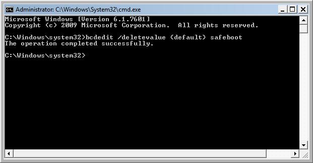 Setează Windows 7 să pornească normal din linia de comandă