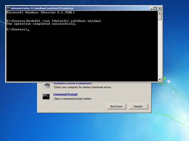 Activează Modul de siguranță al sistemului Windows 7 din Linia de comandă