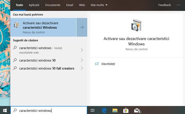 Caută caracteristici windows în Windows 10