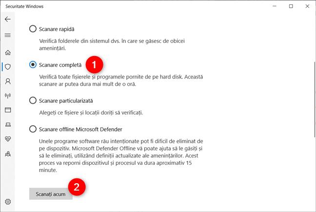 Toate opțiunile de scanare oferite de antivirusul implicit, în Securitate Windows