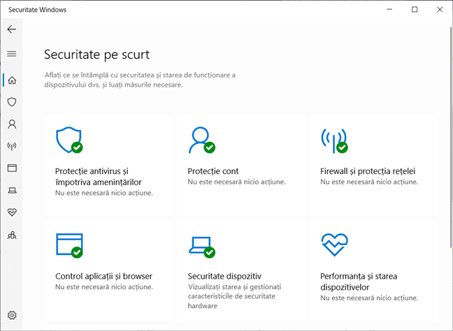 Aplicația Securitate Windows