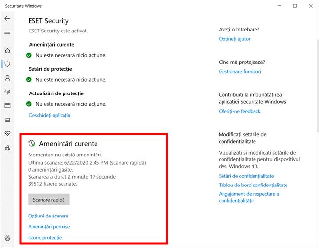 Pornește o scanare rapidă cu Antivirusul Microsoft Defender