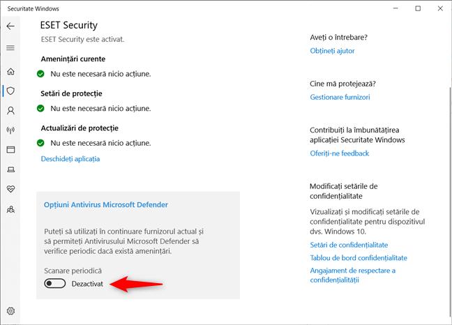 Activarea Scanării periodice cu Antivirusul Microsoft Defender în Windows 10