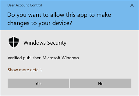 O notificare CCU generată de Securitate Windows