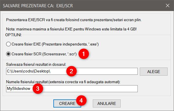 Opțiunea de a crea un fișier SCR