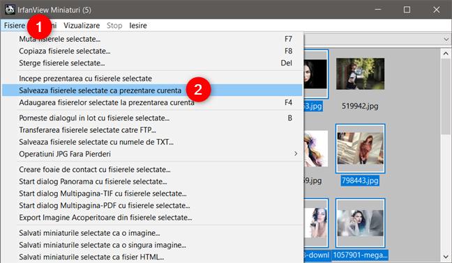 Crearea unei prezentări cu imaginile selectate