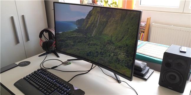 Un monitor LCD ce afișează un screensaver