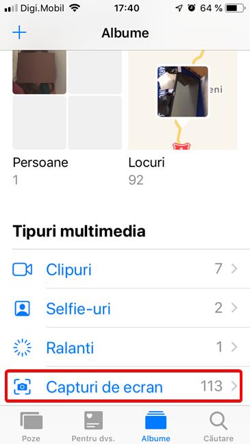 Albumul Capturi de ecran în aplicația Poze pentru iOS