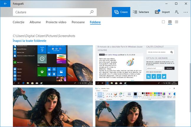Capturi de ecran afișate în aplicația Fotografii în Windows 10