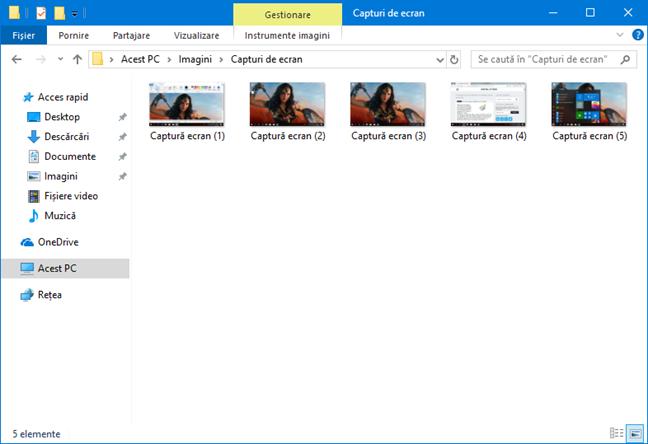 Capturi de ecran salvate de Windows în biblioteca de Imagini