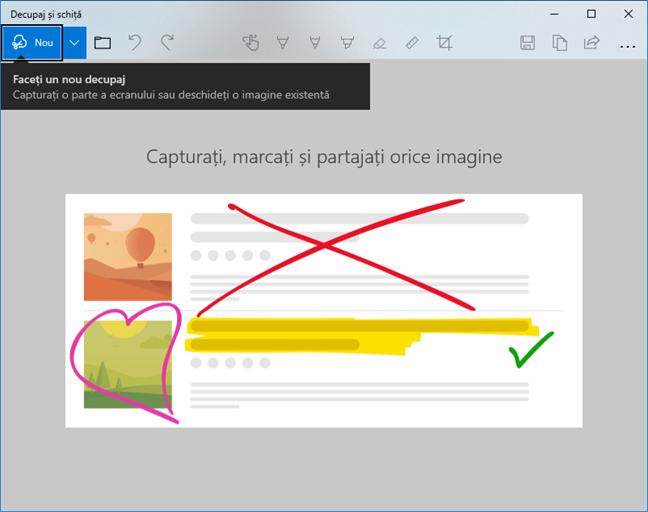 Pornește o captură de ecran în Decupaj și schiță în Windows 10