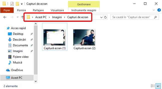 Folderul Capturi de ecran în Windows 10