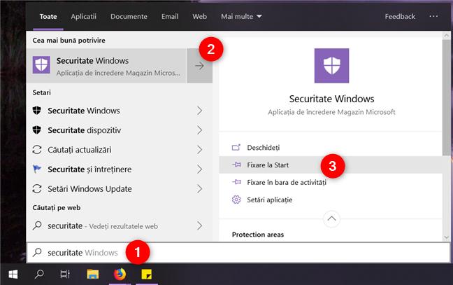 Fixarea aplicației Securitate Windows la Start sau la bara de activități